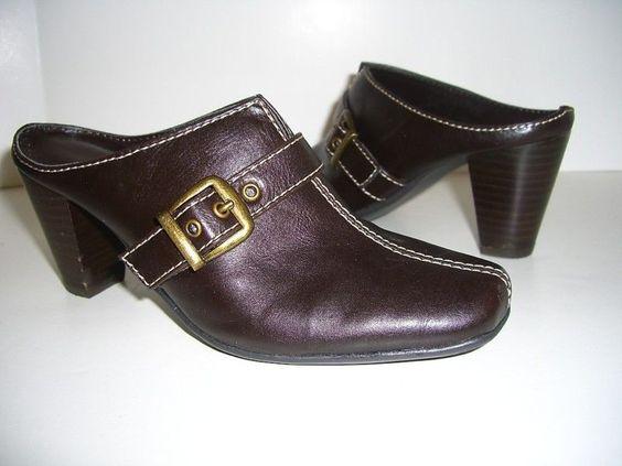 "KAREN SCOTT ""FINTON"" Womens Dark Brown Leather Clogs Shoes US Size 5"