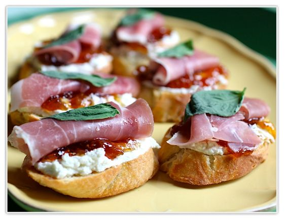 Crostini with Prosciutto, Goat Cheese and Fig Jam: