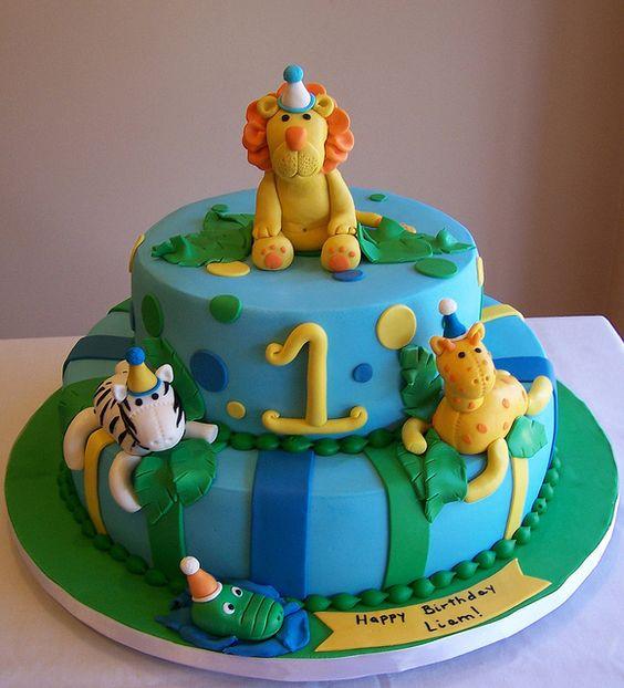Animal Cake Design Ideas : Jungle animals - first birthday cake by cakespace - Beth ...