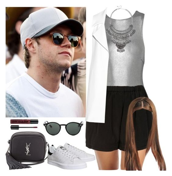 """""""British Summer Time Festival with Niall. -----> *Cynthia."""" by imaginegirlsdsos ❤ liked on Polyvore featuring Prism, Topshop, LULUS, Cushnie Et Ochs, Jamie Clawson, Yves Saint Laurent, adidas and Ray-Ban"""