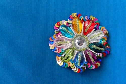 Rhinestone Applique Rainbow Multicolor Beaded & Sequin Applique Summer Flower BESTSELLER Applique on Etsy