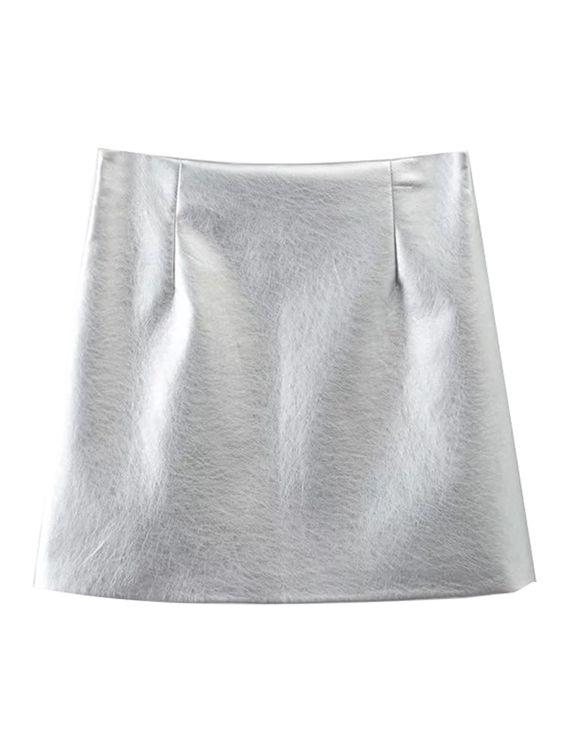 Silver High Waist Leather Look A-line Mini Skirt