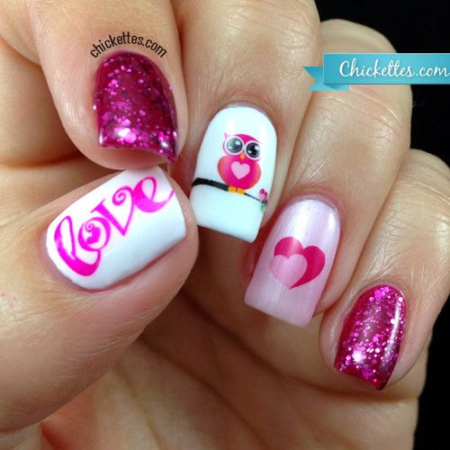 """Love Nail Art: Chickettes.com """"Owl Love"""" Nail Art With Water Decals"""