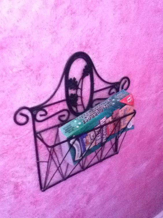 Magazine rack in my very ornate but tiny half bath.