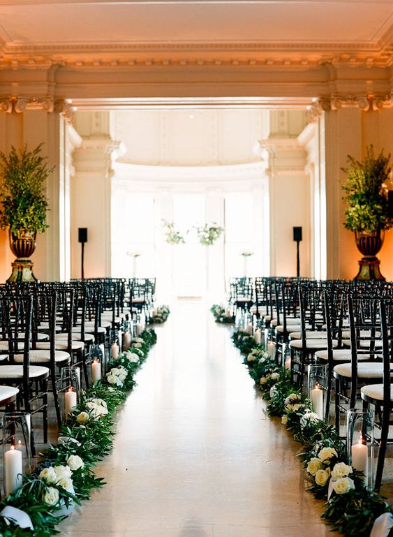 Aisle decorations aisle runners and runners on pinterest for Wedding greenery ideas