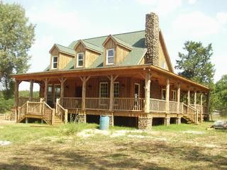 Wrap Around Porch And Cabin Style Home Pole Barn Home