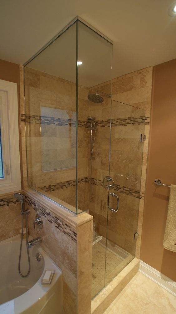 Stand up showers jacuzzi tub and jacuzzi on pinterest for Stand up shower ideas