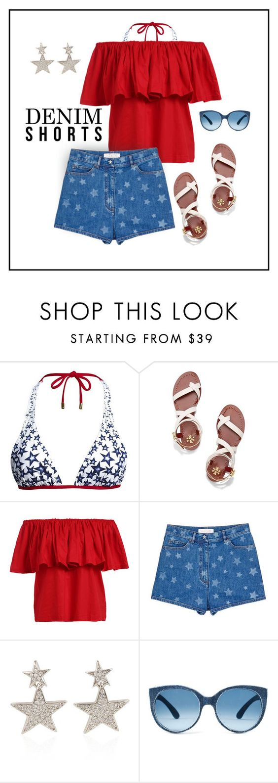 """""""Stars"""" by patricia-dimmick ❤ liked on Polyvore featuring Canvas by Lands' End, Tory Burch, Valentino, Kenneth Jay Lane, jeanshorts, denimshorts and cutoffs"""