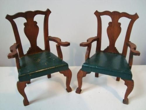 Antique-TynieToy-Miniature-Dining-Room-Armed-Chairs-Dollhouse-Furniture-1-12