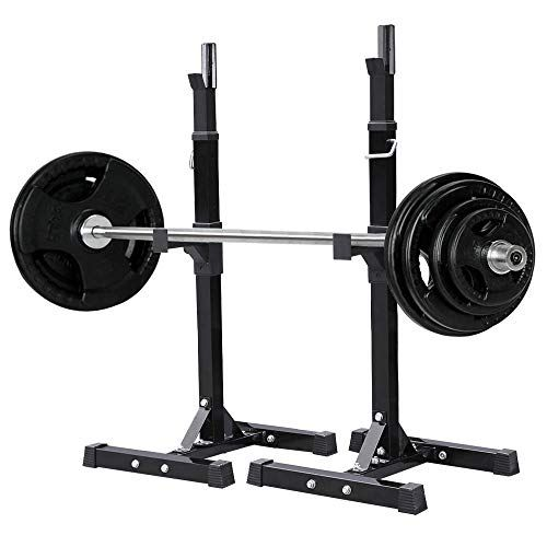 Cheap Yaheetech Pair Of Adjustable Squat Rack Standard Solid Steel Squat Stands Barbell Free Press Bench Home Gym Portable Dumbbell Racks Stands 44 70 Dumbbell Rack Squat Rack Squat Stands
