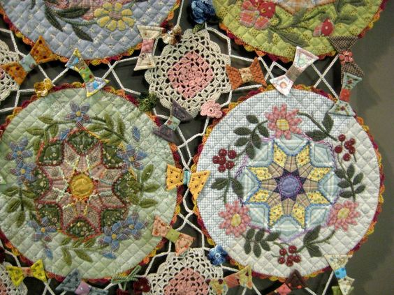 Patchwork masterpieces on display in Japan. A combination of crochet and quilting. Stunning