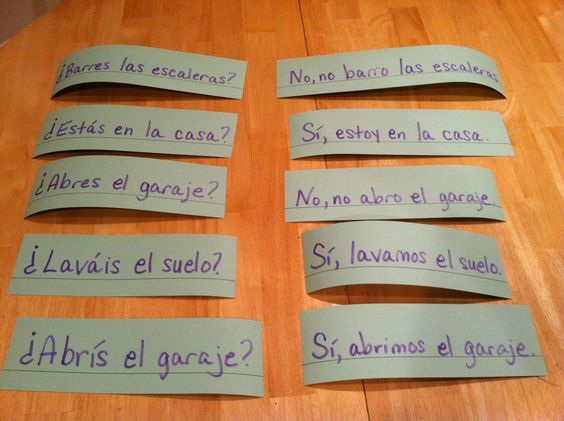 Great kinesthetic class activity - Use sentence strips where students have to find the answer match to their question. Learn more: http://www.spanish-for-you.net/spanish-for-you-blog/using-sentence-strips-to-practice