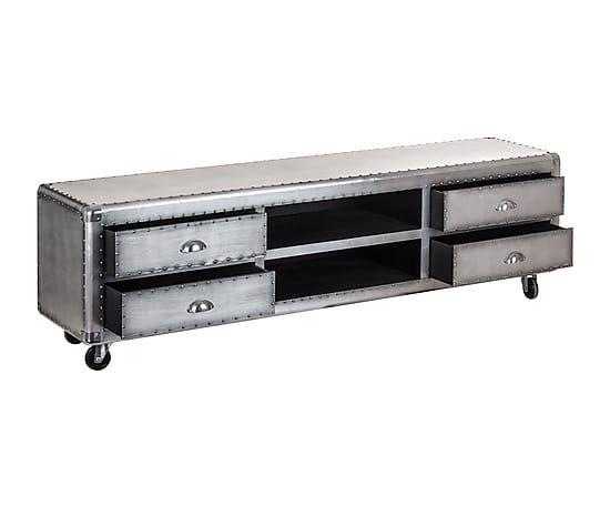 Mueble tv en madera y aluminio largo 170 cm alto 40 cm for Mueble 50 cm alto