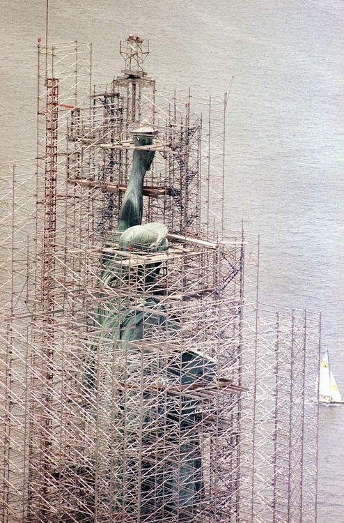 The Statue of Liberty under construction