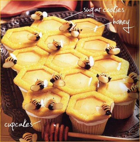 Sooooo very cute! - Honeycomb and bee cupcakes with hexagon-shaped topping