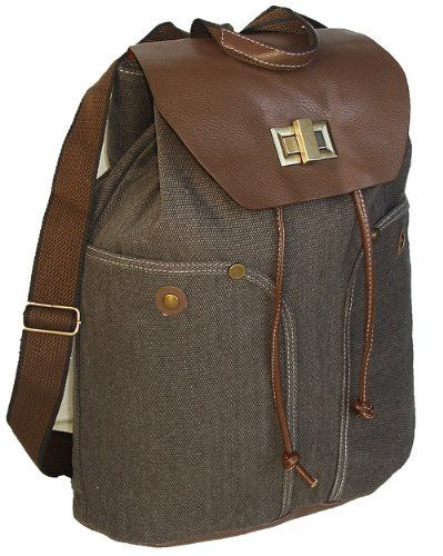 European Style Brown Canvas Drawstring Closure Casual Backpack Rucksack by NCITW, http://www.amazon.com/dp/B00APBG9PE/ref=cm_sw_r_pi_dp_FYoUrb1S8J6TA