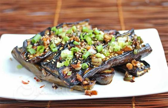 Asian Grilled Eggplant with Spicy Soy Sesame Sauce #summerfest