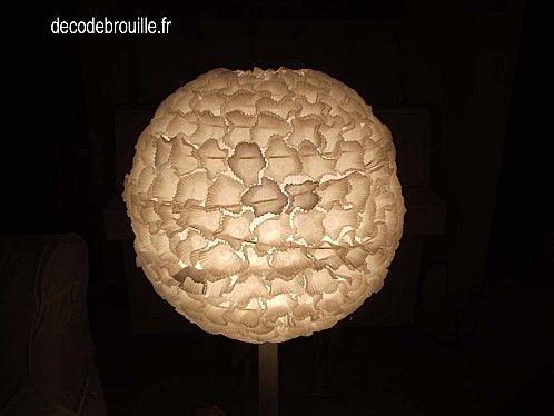 Caissettes en papier coll es sur boule japonaise luminaires pinterest a - Boule en papier luminaire ...