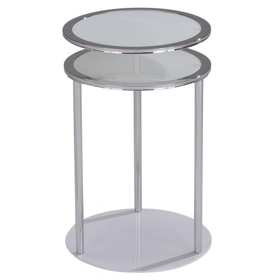 Infinity Swivel Top Chrome Gl Accent Table