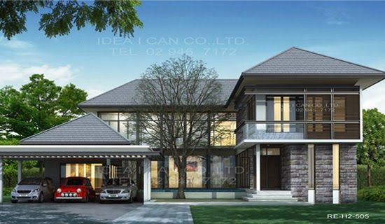 Modern Style 2 Story Home Plans For Construction In Thai, Living Area 505  Sq.m, 4 Bedrooms 6 Bathrooms Width 22 M, Depth 18m ~ Modern Tropical Housu2026