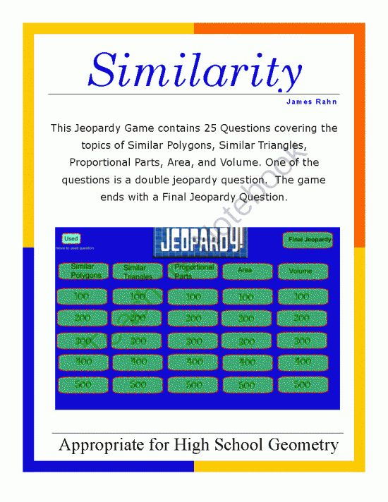 Geometry Smartboard Jeopardy Game  Similarity From Jamesrahn On