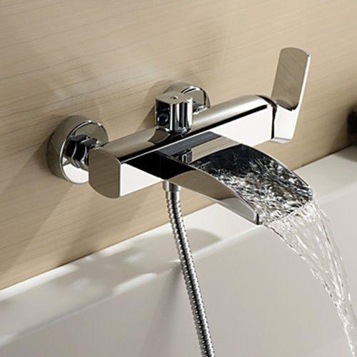 Chrome Finish Single Handle Wall Mount Waterfall Bathtub Faucet Hand Shower Not Included Vasca Da Bagno Rubinetti Doccia Bathtub faucet with handheld shower