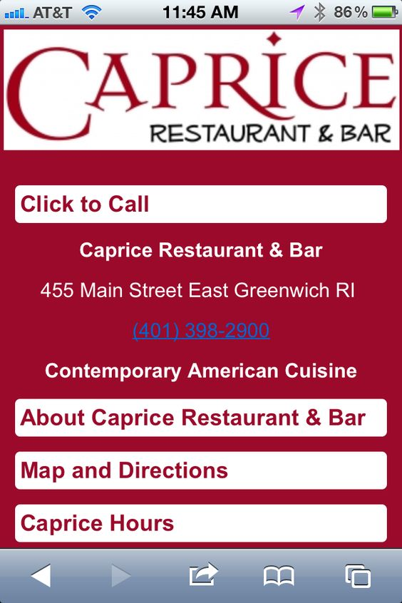 This downtown East Greenwich restaurant has big windows providing views of Main Street. Dishes may include a caprese grilled pizza, linguine with clams, house-made gnocchi with San Marzano plum tomato sauce, New Zealand rack of lamb and such desserts as chocolate mousse and a French apple tart. The appletini is just one option on a great martini list.     #Mobile #Website by #ThriveSpot    ----BTW, Please Visit:  http://artcaffeine.imobileappsys.com