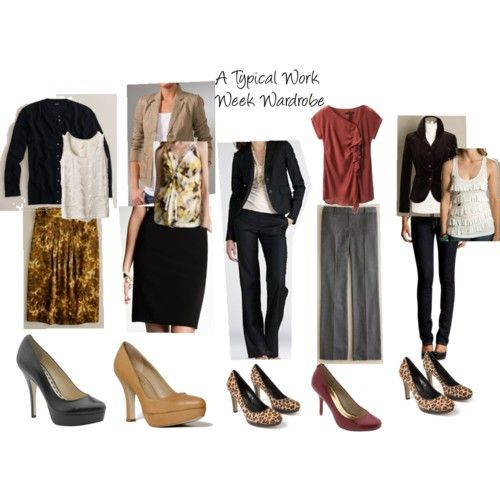 A work week wardrobe I could do, even as a teacher. Maybe some lower heels