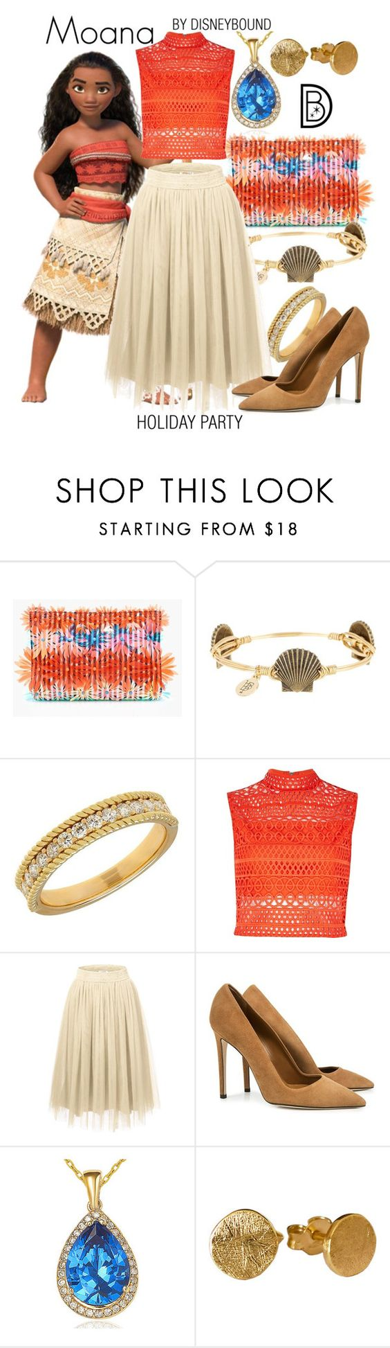 """Moana"" by leslieakay ❤ liked on Polyvore featuring J.Crew, Bourbon and Boweties, Lord & Taylor, River Island, Dee Keller, Suzy Levian, disney, disneybound, disneycharacter and holidaystyle"