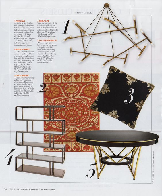 """In the September 2013 issue of New York Cottages  Gardens , this red and yellow tribal-inspired carpet from OS earned a spot in their  """"Shop Talk"""" section."""