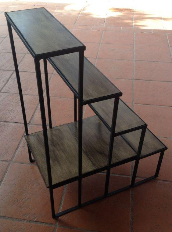 Porta macetas de hierro a medida tipo escalera 4 escalones for Como hacer escaleras de fierro
