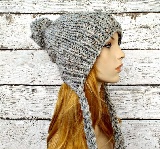 Crochet Womens Hat With Ear Flaps Pattern : Instant Download Knitting Pattern - Knit Ear Flap Hat ...