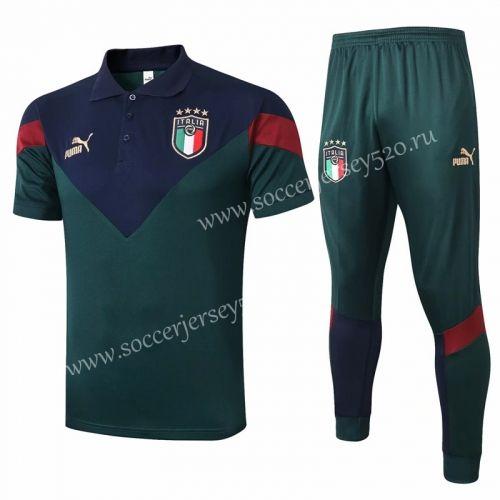 2020 2021 Italy Green Thailand Polo Uniform 815 In 2020 Italy Soccer Polo Polo Shirt