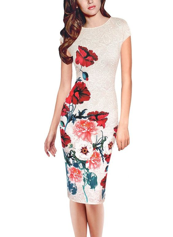 Vfemage Womens Elegant Floral Printed Cocktail Party Casual Pencil Dress at Amazon Women's Clothing store: