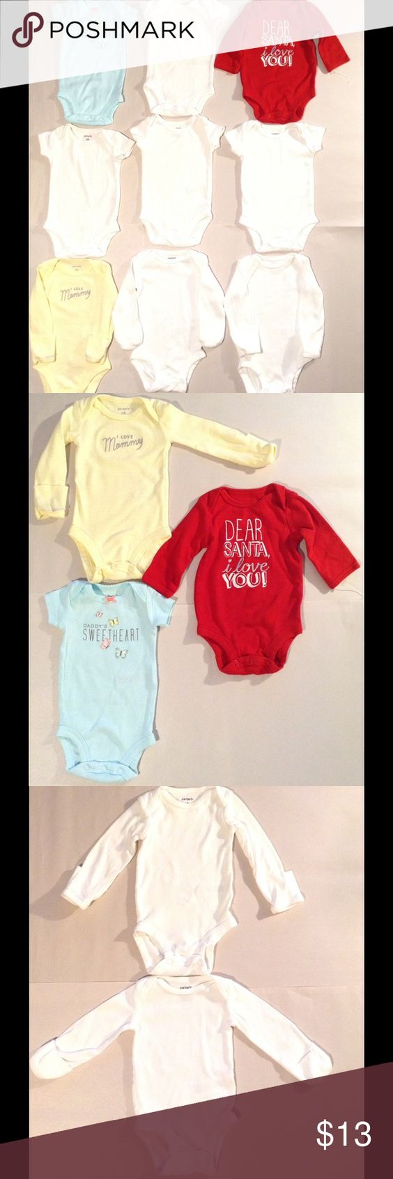 New Born Bundle Of 8 Undershirts New born bundle includes- 4 short sleeve undershirts with snap seat. 3 love family undershirts, featured in multi colors with. Snap seat. 2 long sleeve undershirts with mitten hand protectors and snap seat. Bundle and save Carter's Other