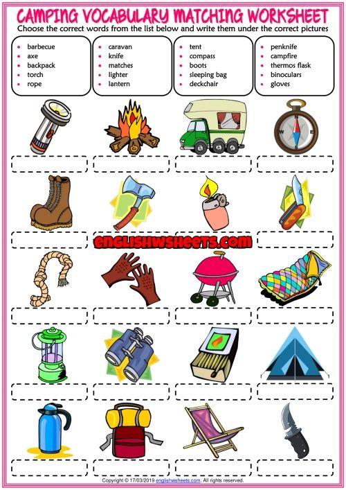 Camping Esl Printable Matching Exercise Worksheet For Kids Worksheets For Kids Vocabulary Worksheets Dictionary For Kids Vocabulary worksheets free download