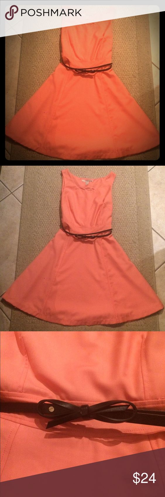 Salmon colored forever 21 flared dress Worn once super cute has old fashion flare   The belt comes with the dress. Accepting reasonable offers Forever 21 Dresses Midi