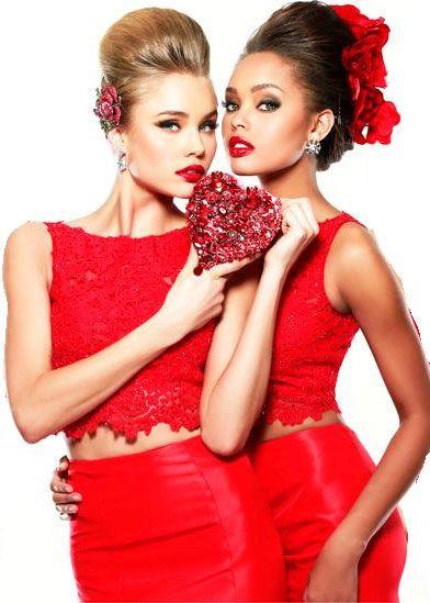 Sherri Hill 21372 Red Lace 2 Piece Dress
