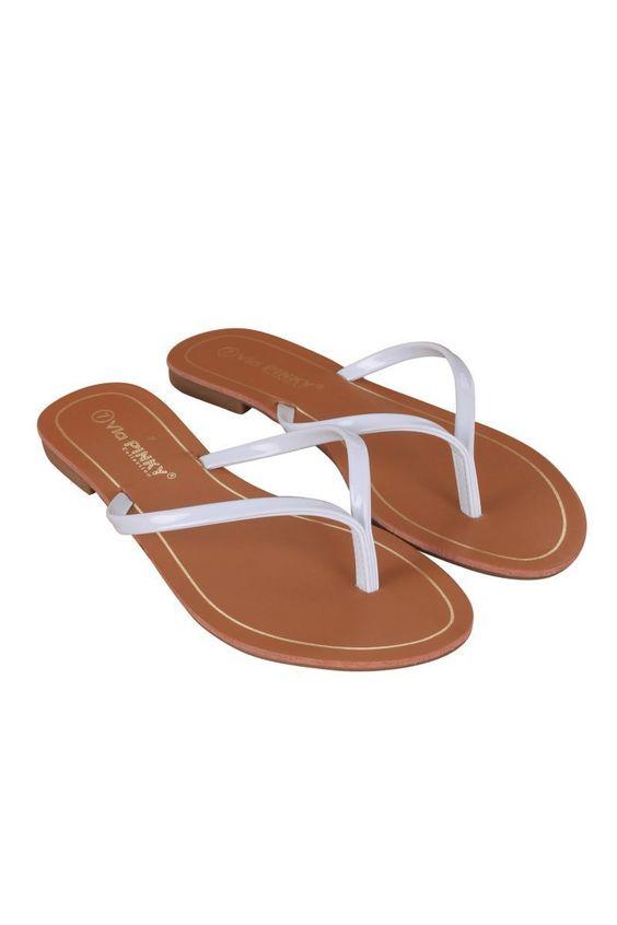 Flat Thong Sandal Women White Brianna-61-00 JS Awake