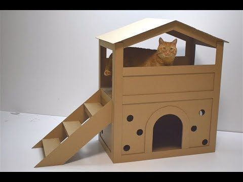How To Make A House For A Cat Out Of Cardboard Cat House Diy Cardboard Cardboard Cat House Cat House Diy
