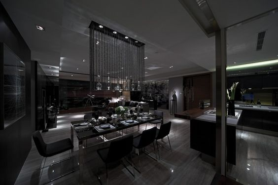 Modern Drama Interior in Luxurious Home Living: High Drama Interiors Down Lit Moody Modern Dining In Slate Steve Leung ~ apcconcept.com Luxury Home Designs Inspiration