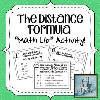 Worksheets Activity Worksheet Distance And Midpoint Exploration Answers distance math and activities on pinterest the formula lib activity