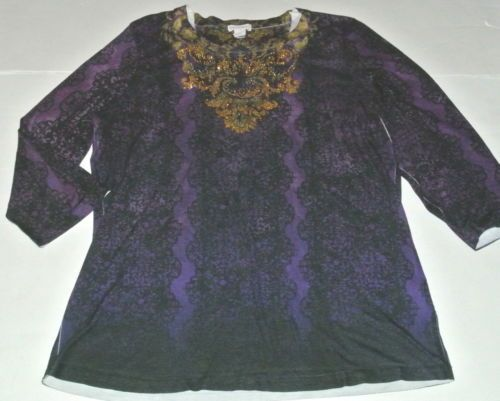 Chico's Top Shirt Knit Blouse Rhinestone Bling Purple Size 2 Ladies Womens