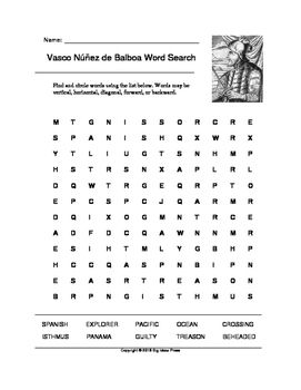 Vasco Núñez de Balboa Word Search (Grades 2-4) | Word ...