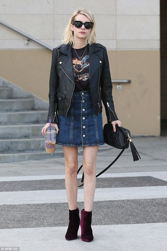 Ensemble: The Scream Queens star completed the look with a denim skirt...: