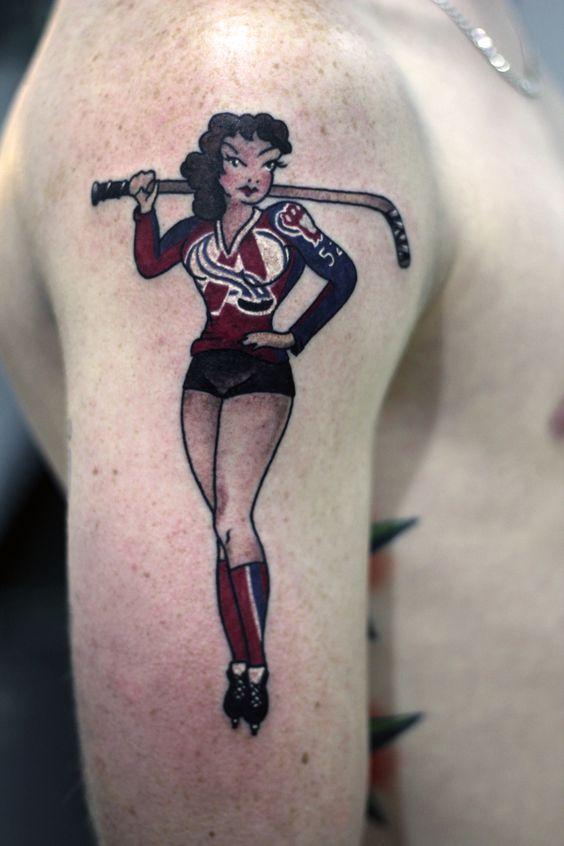 Colorado Avalanche pin up #tattoo #paulberkey