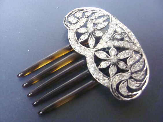 ANTIQUE FISHEL NESSLER F.N. CO CRYSTAL & TORT HAIR COMB EARLY 1900S
