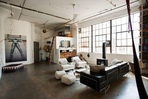 loft-brooklyn-industrial-interior-04: Interior Design, Loft Apartment, Loft Living, Livingroom, Living Room, Industrial Loft