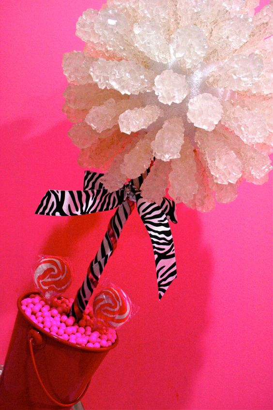 Candy centerpieces rock and pink zebra on pinterest