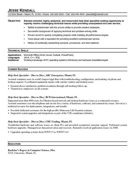 Resume Helper -    wwwresumecareerinfo resume-helper - entry level help desk resume